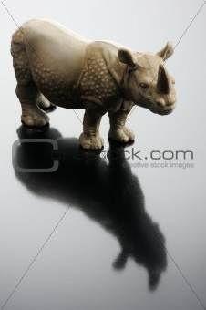 A plastic figurine of a rhinoceros
