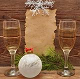 christmas decoration and old paper