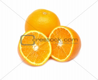 Close up of orange with another half