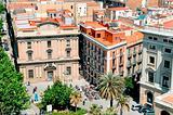 La Rambla and Plaça del Portal de la Pau in Barcelona, Spain