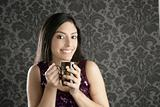 coffee cup brunette beautiful woman retro portrait