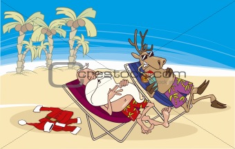 santa and reindeer having a rest on the beach