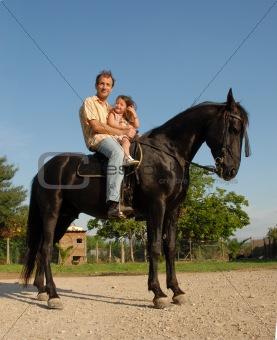family on horse