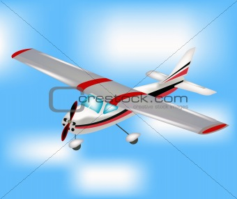 Small plane flying to sky