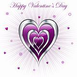 Valentine hearts with sunburst background