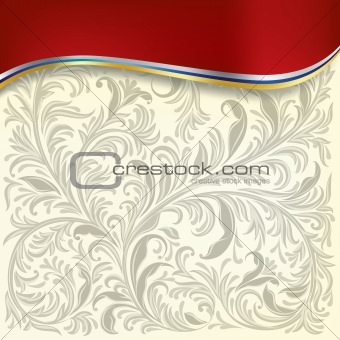 abstract background with floral ornament on white