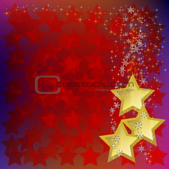 abstract christmas background with gold stars