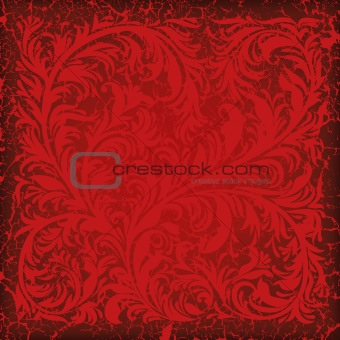 abstract cracked red background with floral ornament