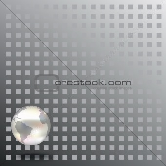 Abstract background with globe on grey