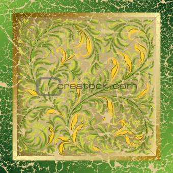 abstract background with cracked floral ornament