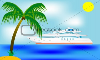 Blanching sailboat beside tropical coast