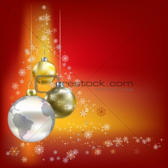 Christmas balls and planet red background