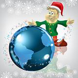 christmas greeting dwarf with globe on white