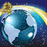 christmas greeting gold bow with planet