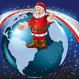 christmas greeting Santa Claus on globe