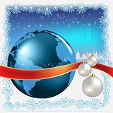 christmas white balls with globe on blue