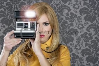 fashion photographer retro camera reporter woman