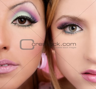 makeup closeupl macro two faces multiracial in pink