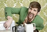 geek retro man drinking tea coffee vintage teapot