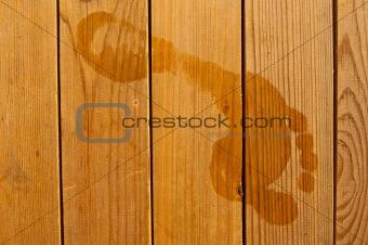 Footprints on wood