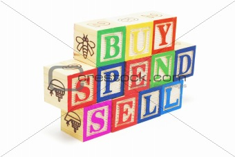 Alphabet Blocks - Buy, Spend, Sell