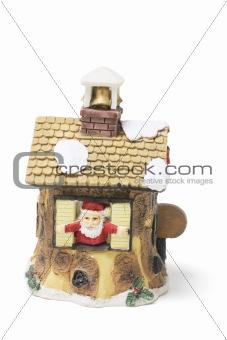 Santa Figure and Christmas House Ornament