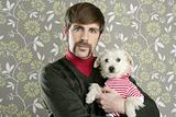 geek retro man holding dog silly on wallpaper