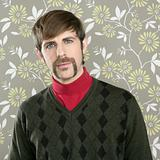 mustache retro salesman geek portrait