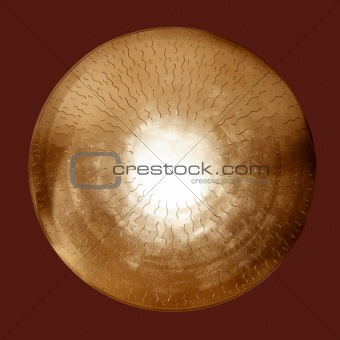 Asian brass gong golden round isolated