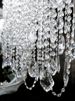 crystal strass lamp white over black background