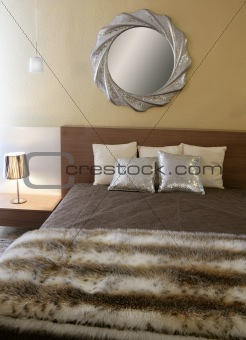 bedroom modern silver mirror fake fur blanket