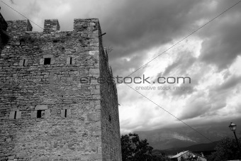 Castle fort wall in Ainsa village Aragon Pyrenees