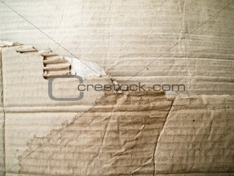Torn Brown crumpled cardboard