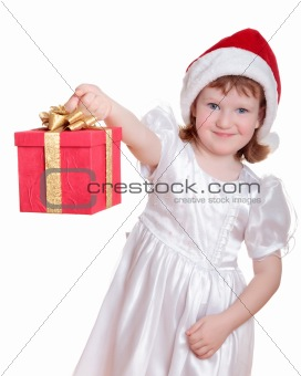 Baby girl in Santa's hat holding her Christmas present isolated