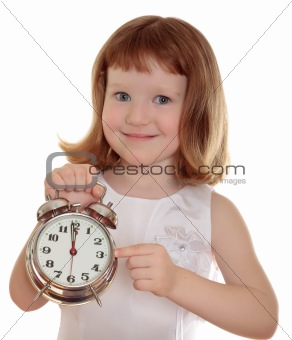 Portrait of little girl holding alarm clock, isolated over white