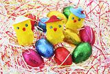 Toy Chicks and Easter Eggs