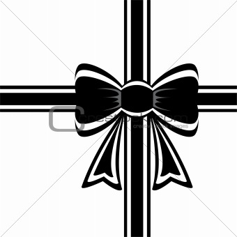 black ribbon with bow