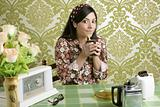 Retro woman drinking cafe on wallpaper kitchen