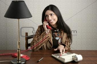 accountant retro secretary telephone talking woman