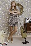retro vacuum cleaner woman housewife vintage