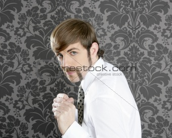 aggressive funny retro mustache businessman