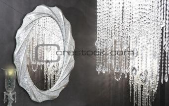 Crystal strass lamp oval mirror modern decoration