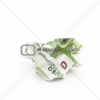 crumpled banknote in a hundred euros