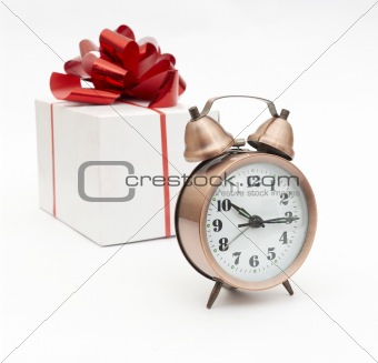 A retro clock with presents
