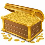 treasure  chest with coins