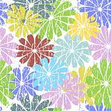 White seamless grunge floral pattern