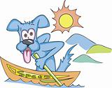 Cartoonial dog in speed boat