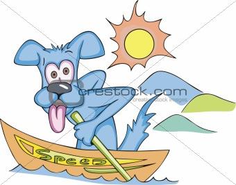 Cartoonial dog in speed boat