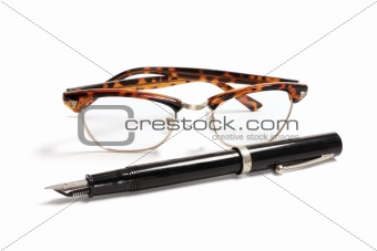 Fountain Pen and Eye Glasses