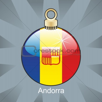 andorra flag in christmas bulb shape